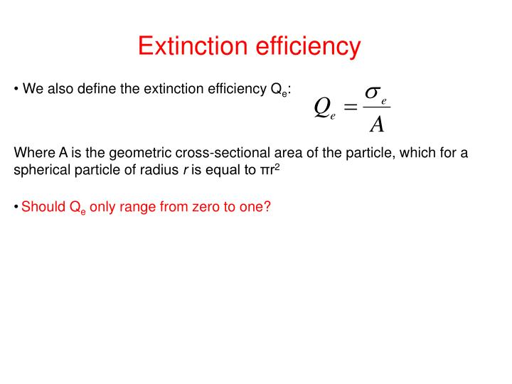 Extinction efficiency