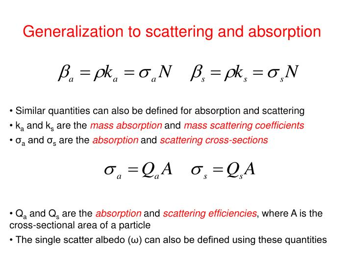 Generalization to scattering and absorption
