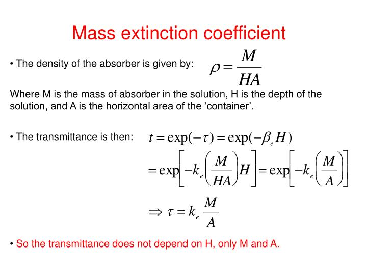 Mass extinction coefficient