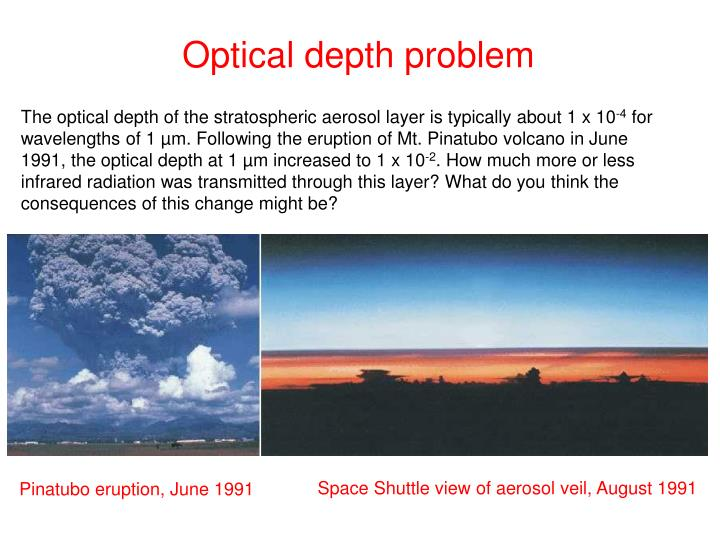 Optical depth problem
