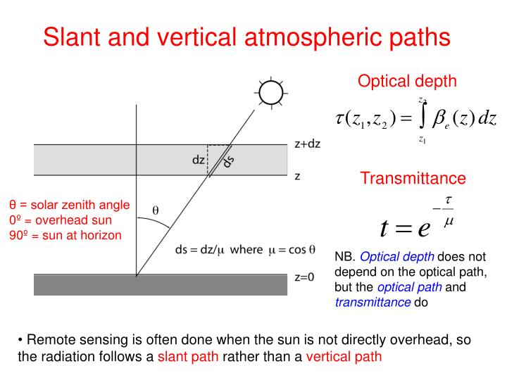 Slant and vertical atmospheric paths