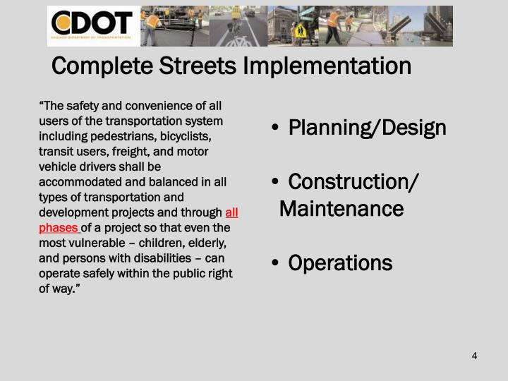 Complete Streets Implementation