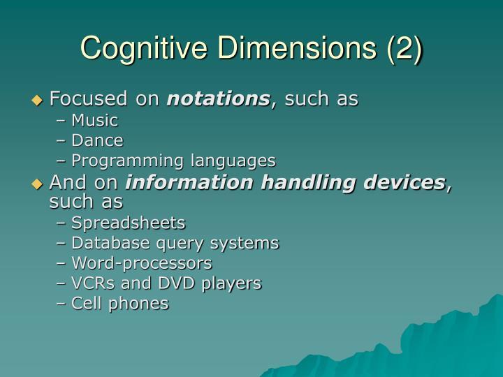 Cognitive Dimensions (2)
