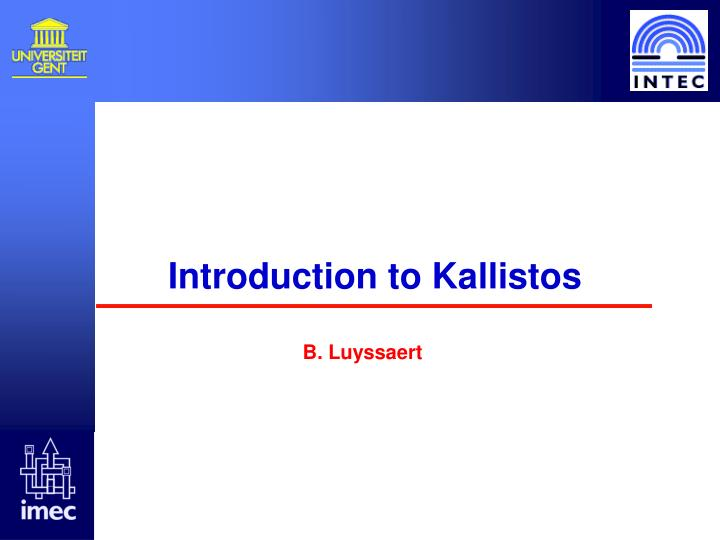 Introduction to kallistos