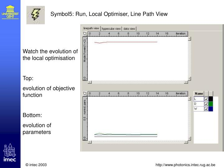 Symbol5: Run, Local Optimiser, Line Path View