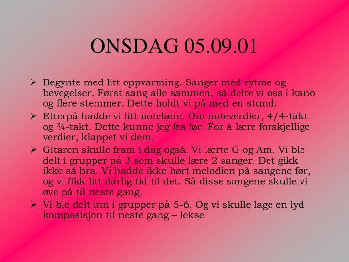 ONSDAG 05.09.01
