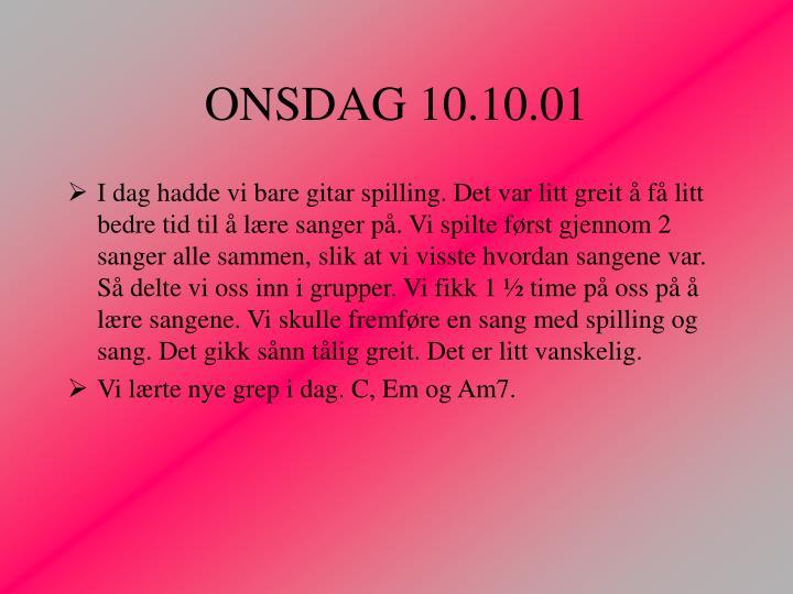 ONSDAG 10.10.01