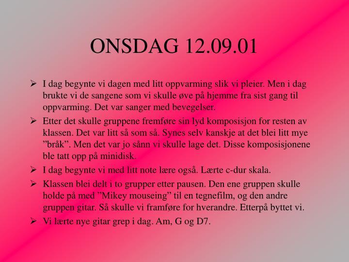 ONSDAG 12.09.01