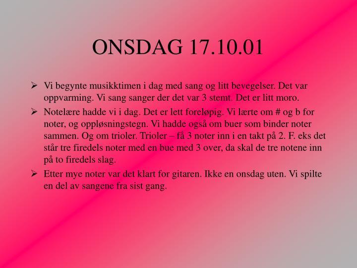 ONSDAG 17.10.01
