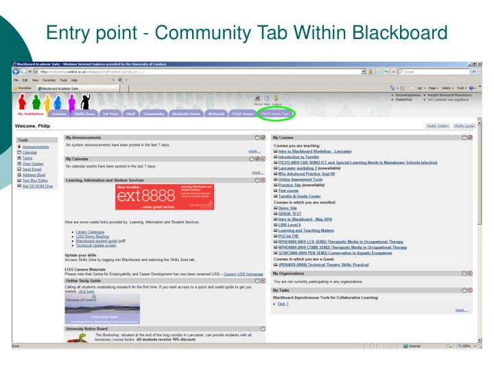 Entry point - Community Tab Within Blackboard