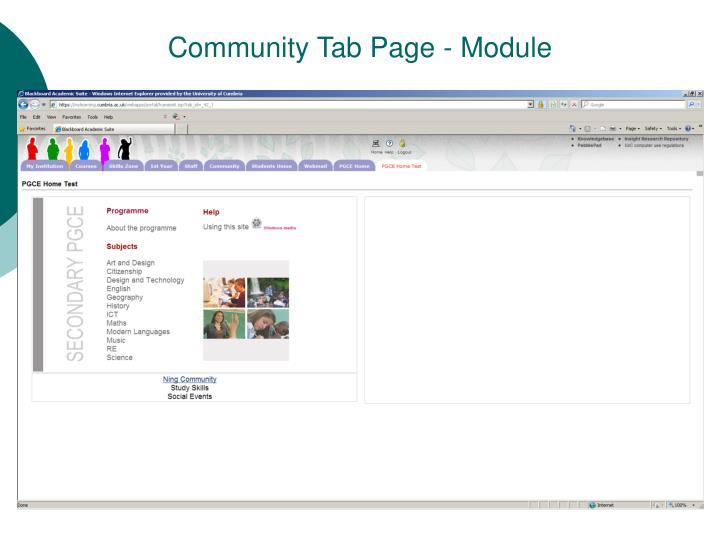 Community Tab Page - Module