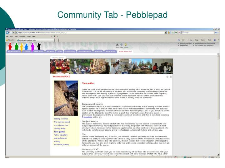 Community Tab - Pebblepad