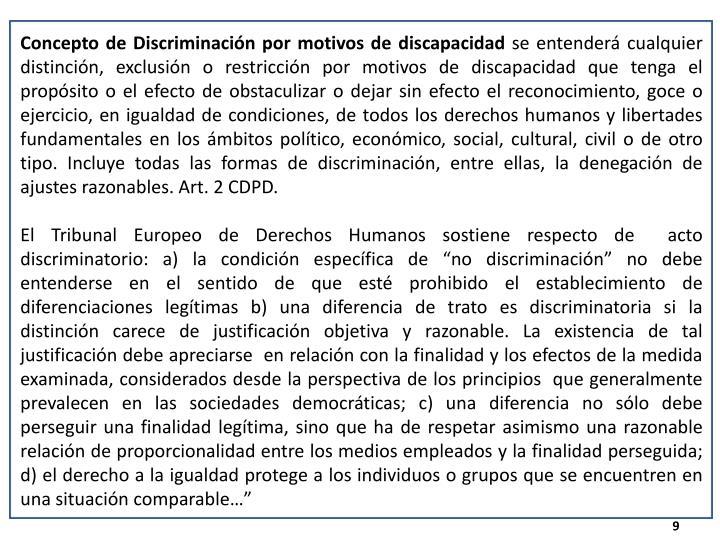 Concepto de Discriminación por motivos de discapacidad