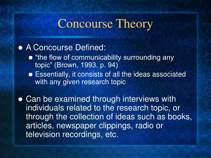 Concourse Theory