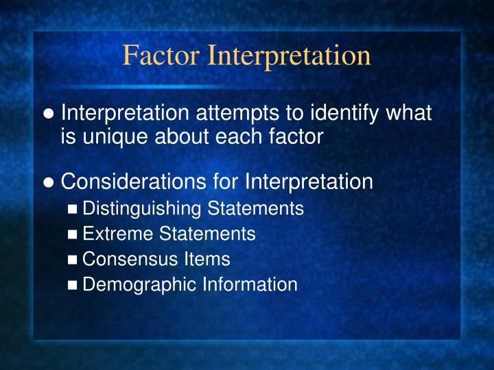 Factor Interpretation