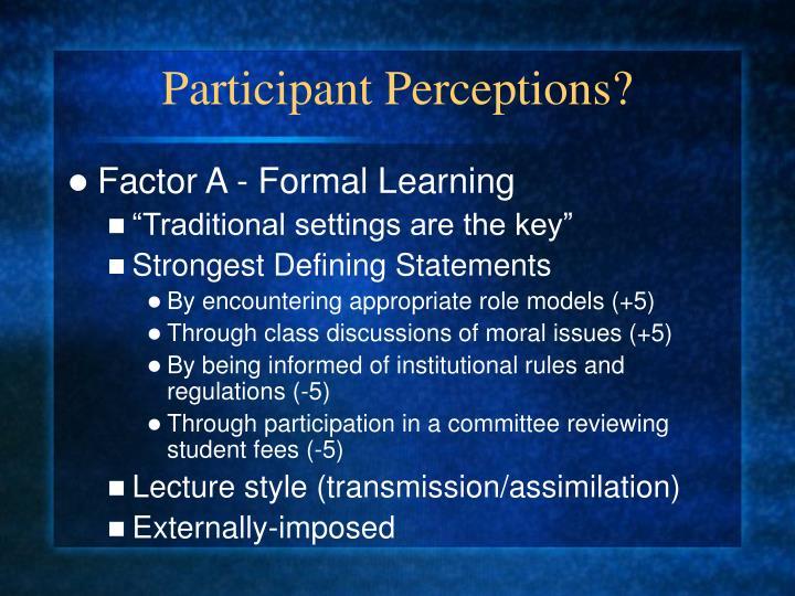 Participant Perceptions?