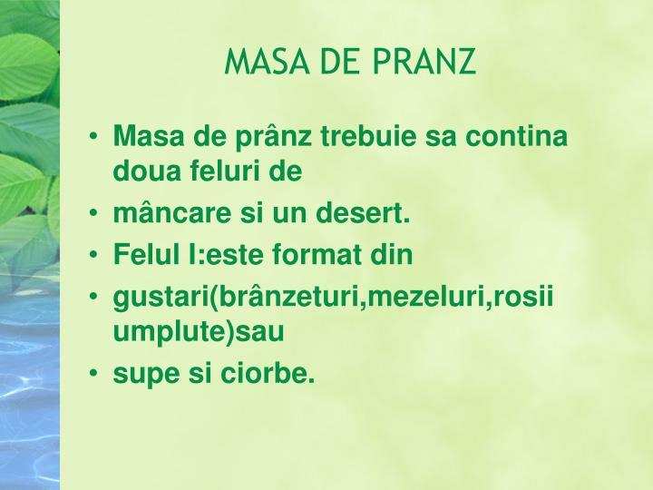 MASA DE PRANZ
