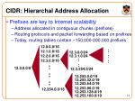 cidr hierarchal address allocation