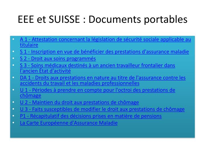 EEE et SUISSE : Documents portables