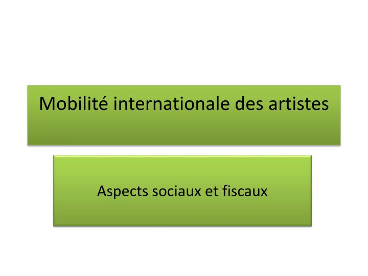 Mobilit internationale des artistes