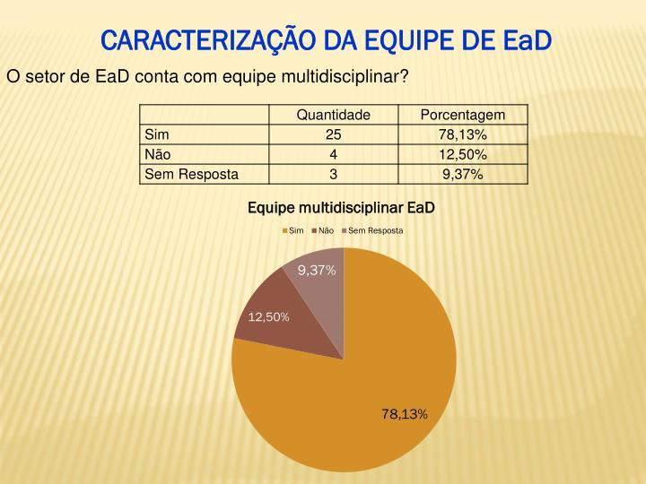 CARACTERIZAÇÃO DA EQUIPE DE EaD