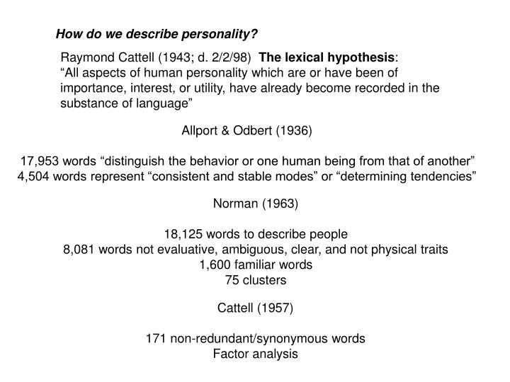 How do we describe personality?