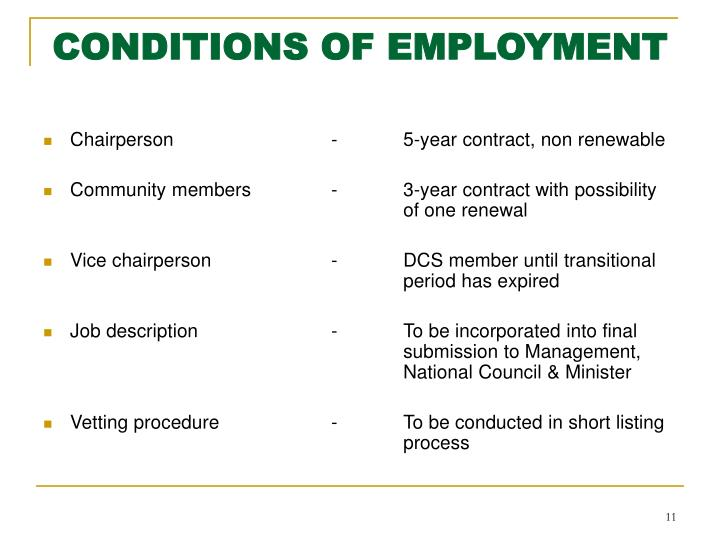 CONDITIONS OF EMPLOYMENT