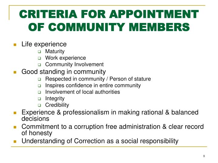 CRITERIA FOR APPOINTMENT OF COMMUNITY MEMBERS