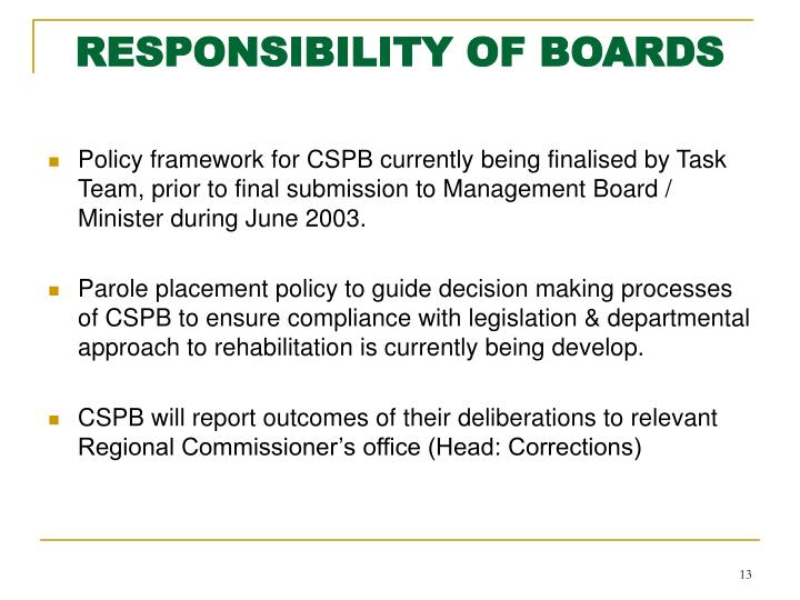RESPONSIBILITY OF BOARDS