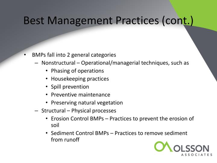 Best Management Practices (cont.)