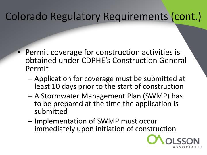 Colorado Regulatory Requirements (cont.)