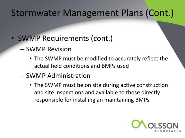Stormwater Management Plans (Cont.)