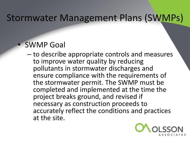 Stormwater Management Plans (SWMPs