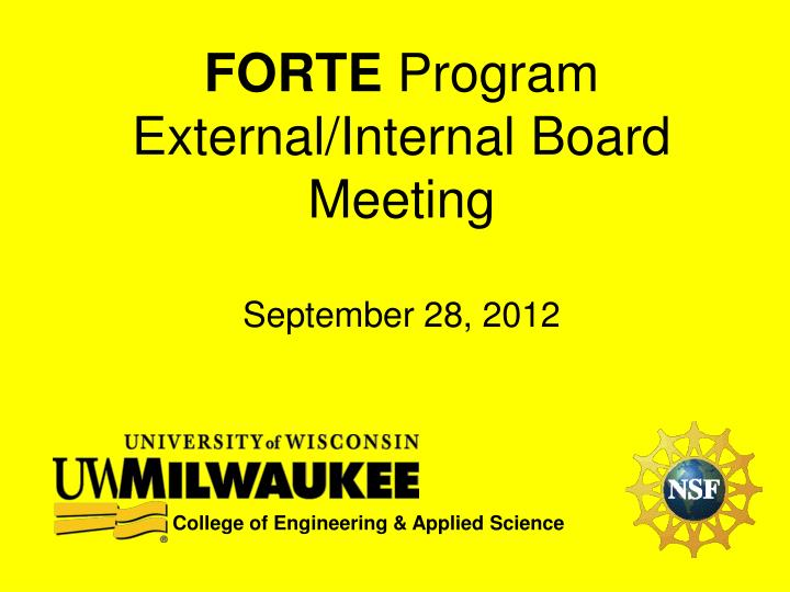 Forte program external internal board meeting september 28 2012
