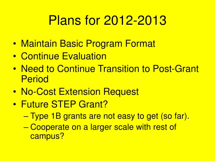 Plans for 2012-2013