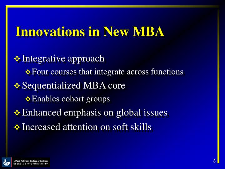 Innovations in New MBA
