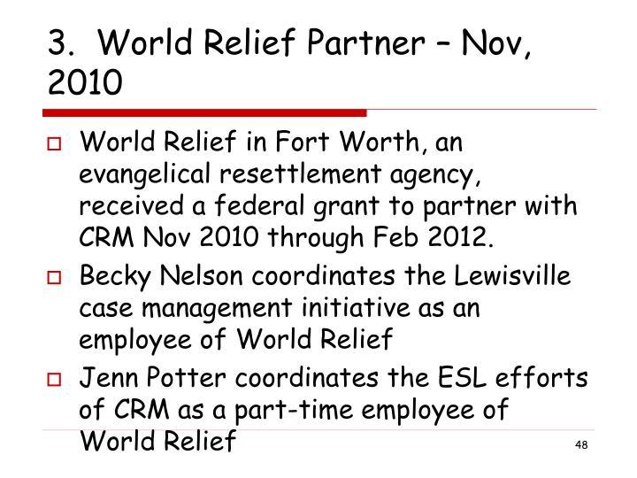 3.  World Relief Partner – Nov, 2010