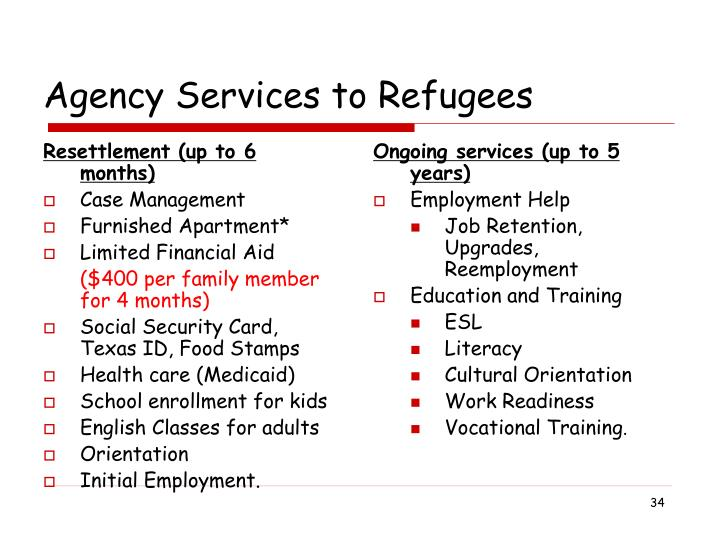 Resettlement (up to 6 months)