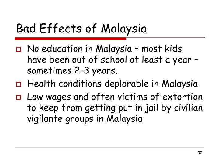 Bad Effects of Malaysia