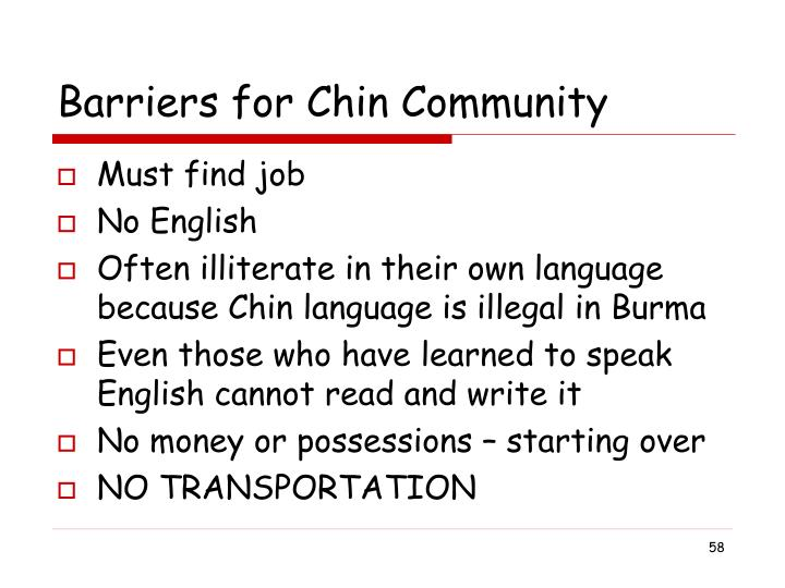 Barriers for Chin Community
