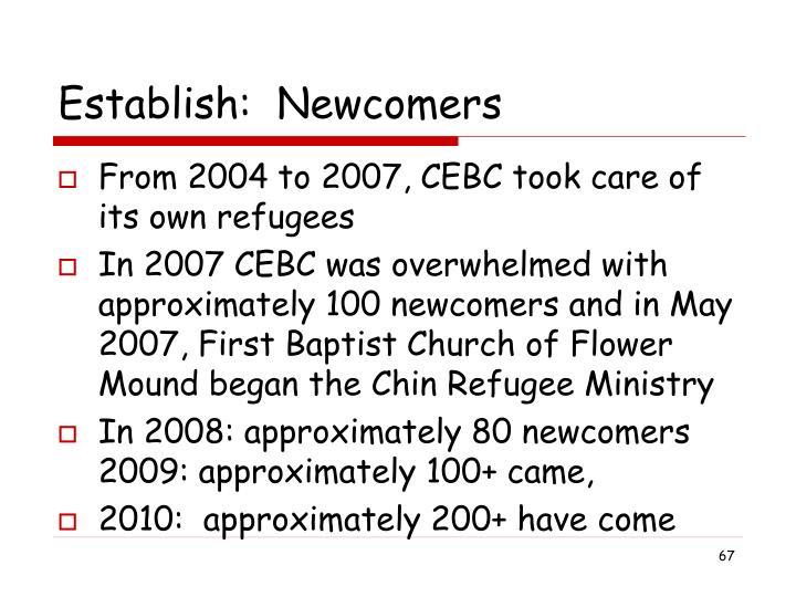 Establish:  Newcomers