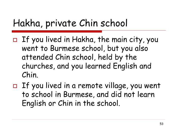 Hakha, private Chin school
