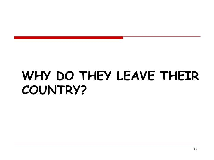 Why Do They Leave Their country?