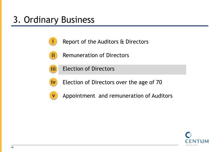 3. Ordinary Business