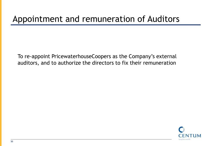 Appointment and remuneration of Auditors