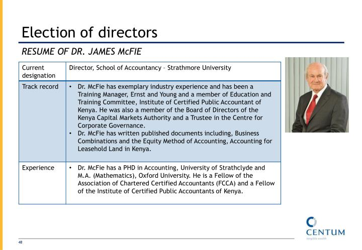 Election of directors