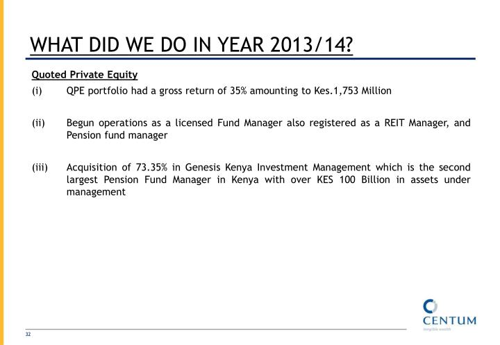 WHAT DID WE DO IN YEAR 2013/14?