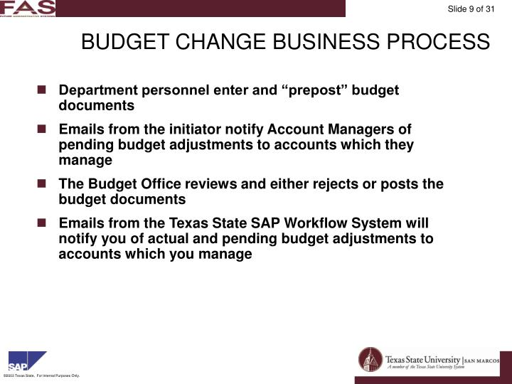 BUDGET CHANGE BUSINESS PROCESS