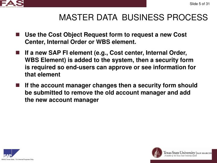 MASTER DATA  BUSINESS PROCESS