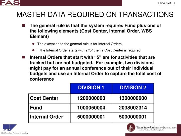 MASTER DATA REQUIRED ON TRANSACTIONS